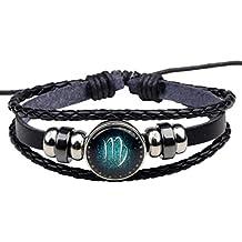 afbe4c9f26477 HooAMI Bracelet Cuir Véritable Unisexe DIY Série de 12 Signes du Zodiaque  Charme Bijoux pour Homme