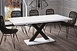 Esstisch Mila ausziehbar 130cm - 180cm Weiss Hochglanz Küchentisch Design bi colour Säulentisch