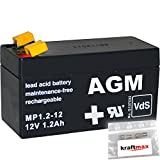 1x AGM 12V / 1,2Ah Blei-Akku - MP1,2-12 [ Faston 4,8 ] VdS geprüft - inkl. 2x Original Kraftmax Anschluß-Adapter