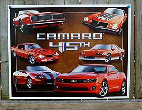 Chevy Chevrolet Camaro 45th Anniversary Tin Sign 13 x 16in by Chevy