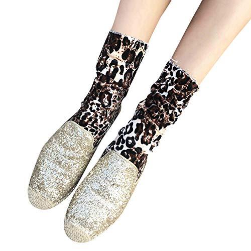 FRAUIT Damen Socken mit Leo Muster 2018 neue weibliche Mode Weihnachten Ins Stil Mitte Tube Leoped Print Socken