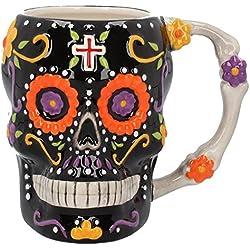 Taza calavera del Día de los Muertos, 14 cm, color negro