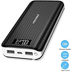 HOKONUI Batterie Externe 24000mAh 2.4A Charge Rapide 2.0,Power Bank 2 Ports USB Chargeur Portable Batterie de Secours pour iPhone X/8Plus/8/7,iPad,Samsung Galaxy S8,Téléphones Portables,Tablettes,etc