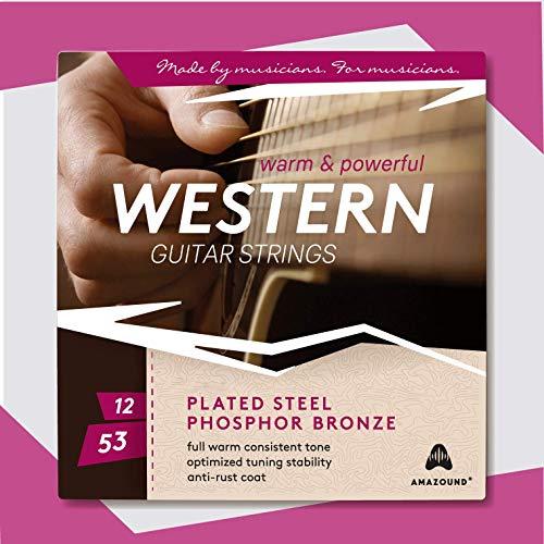 ▶ AMAZOUND® PROFESSIONAL Gitarrensaiten Westerngitarre ♫ Extra Volumen & Power Präzises Spielgefühl ♫ VON MUSIKERN FÜR MUSIKER ♫ 6 Akustik-Gitarre-Saiten (12-53) 1 SET ♫ +3 PLEKTREN GRATIS ■