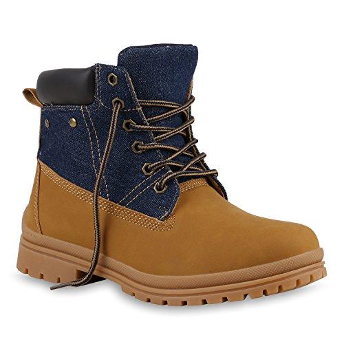 UNISEX Damen Herren Stiefeletten Worker Boots Outdoorschuhe Schnürstiefel Hellbraun Dunkelblau