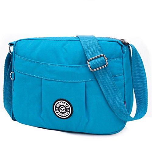 TianHengYi Small Water Resistant Women's Cross-body Shoulder Bag Lightweight Nylon Fabric Messenger Bag Sky Blue