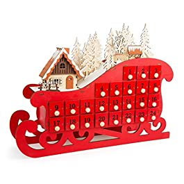 """'SSITG Calendario dell' Avvento """"Slitta in legno per bambini Natale Calendario ste"""
