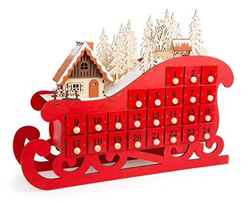 Calendario Legno Bambini.Ld Decorazioni Di Natale Calendario Dell Avvento Slitta In