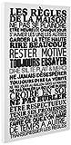 Enov Planet BeeStick Tableau les Règles de la Maison Blanc, Toile, Noire, 100 x 57 x 100 cm