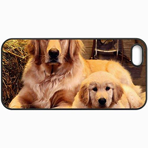 Fashion Unique Design Protective Cellphone Back Cover Case For iPhone 5 5S Case Family Portrait Golden Retriever Black