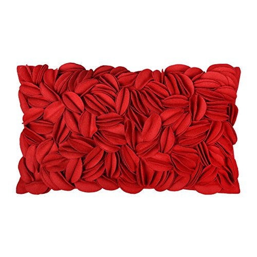 KINGROSE Handgefertigt 3D Blumen Kissenbezüge Wolle Rechteck Dekoratives Kissenbezüge Zuhause Bett Wohnzimmer Büro Sofa Auto Stuhl Couch Hotel Geschenke, Rot, 12 x 20 Zoll -