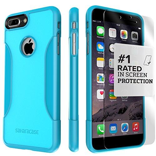 Coque iPhone 7 Plus, (Noir) SaharaCase® + [film protecteur ZeroDamage en verre trempé] kit de protection accompagné d'un et d'une protection de saisie antidérapante [antichocs] avec une coupe ajustée Bleu Sarcelle