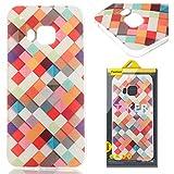 HTC ONE M9 Hülle, HTC M9 Case, Greetrass Weichem Silikon TPU Bumper Case Ultra Dünne Schutzhülle für HTC ONE M9 Handyhülle Handy Tasche Back Cover Rückseite Etui Schutz Schale mit Farben Quadrat Muster