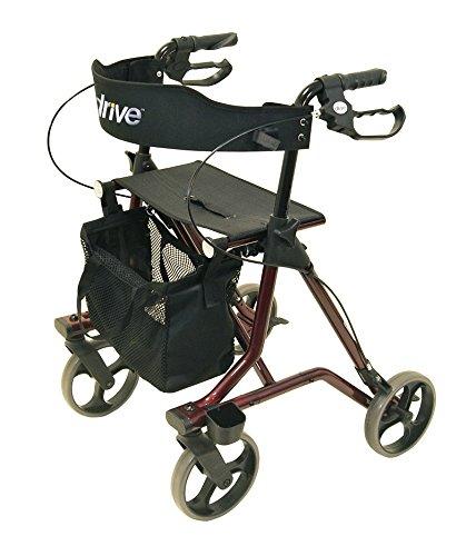 drive 13755 Drive Leichtgewicht Rollator Torro inkl. Tasche, Rückengurt und Stockhalter rot