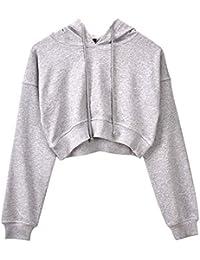 Hzjundasi Mujer Sudadera con Capucha Crop Tops Sweatshirt - Suelto Jumper Pullover Manga Larga Saltador Suéter