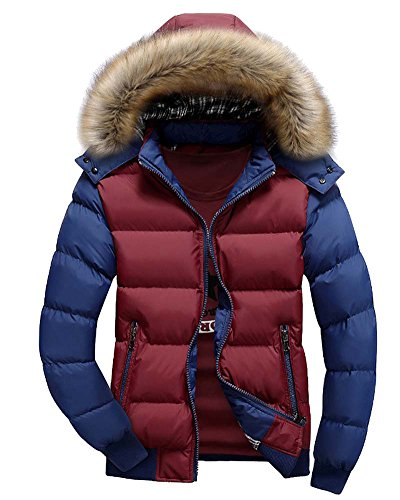 Uomo Cappotto Casuale con Cappucio Sportiva Manica Lunga Invernale Cotone Cerniera Rosso Blu L