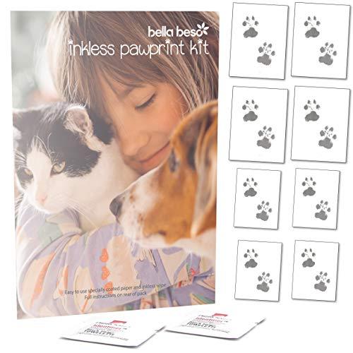 Bella Beso Inkless Pet Paw Print Set für Katzen und Hunde - Wird mit 2 Tüchern und 8 Bögen Spezialpapier geliefert -
