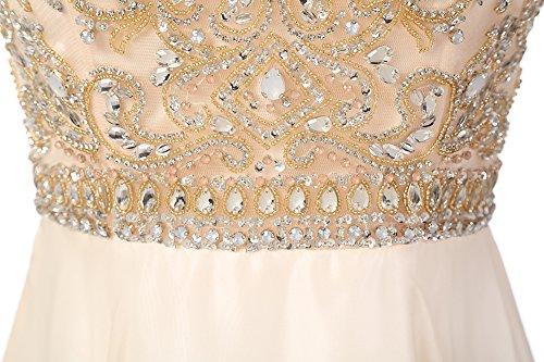 Dresstells, Robe de soirée Robe de cérémonie Robe de bal en mousseline emperlée col rond sans manches Vert