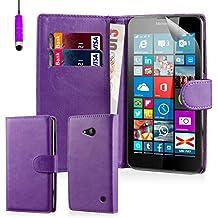 32nd® Funda Flip Carcasa de Piel Tipo Billetera para Microsoft Lumia 640 con Tapa y Cierre Magnético y Tarjetero - Morado