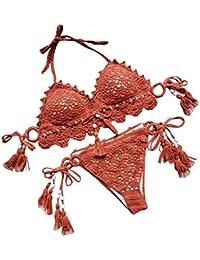 9d4b81583c02 Alluing Womens Sexy Scoop Neck Straps Cutout High Cut Thong 2PCS Bikini  Sets Swimsuit Dark Blue