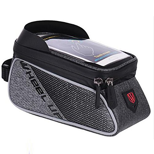 Bike Frame Bag, Top Tube Bag, XPhonew Wasser Resistant Radfahren Front Tube Frame Pannier Mountain MTB City Road Fahrrad Crossbar Tasche Pouch Halter für iPhone 7 7 Plus / 6 / 6S Plus 5S SE Samsung Galaxy S8 S7 Edge S6 Edge Plus Google Nexus Huawei Xiaomi Sony OnePlus HTC Smartphones bis zu 6 Zoll (Schwarz und Grau) (Mtb Fahrrad-rahmen)