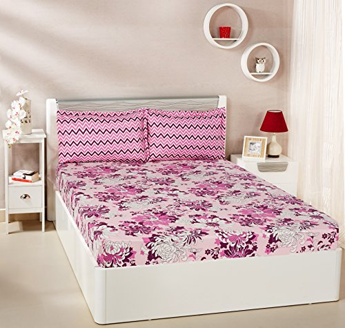 Solimo Floral Breeze 144 TC 100% Cotton Double Bedsheet with 2 Pillow...