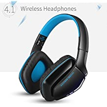 Kotion Each B3506 Bluetooth V4.1 Foldable Headphone Bluetooth plus Wired Connection for PC, PS4 (Wired only), Mobile, Tablets Android, iOS (Black/Blue)