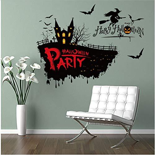 HHZDH Halloween Scary Hexe Wandaufkleber Halloween Thema Party Wanddekoration Aufkleber 50 * 70 cm Festival Und Partei Liefertweihnachten