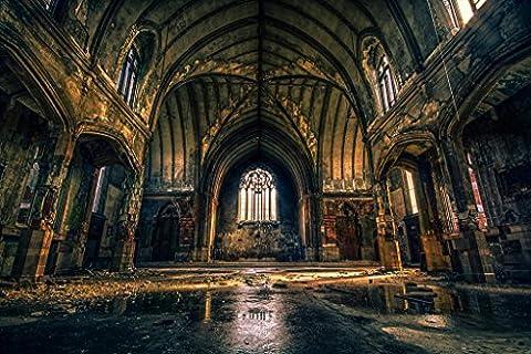 Ruins of a Abandoned Church Detroit Michigan Photo Art Print Poster 46x30 cm