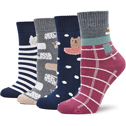 a8c202a3e3033 Ladies Womens Thick Winter Thermal Socks Cotton Crew Novelty Socks Casual  Cartoon Socks, 4 Pairs
