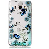 Cozy Hut Coque Samsung Galaxy J5 2016,TPU Silicone Housse Samsung Galaxy J5 2016,Souple Etui Samsung Galaxy J5 2016,Transparent Silicone Case Samsung Galaxy J5 2016,Protection Anti rayures Shock-Absorption Ultra Mince Flexible TPU Bumper Protective Cover Anti-Scratch Effacer Hull - papillons bleus