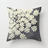 vintage cap Black and White Queen Annes Lace Cushion Covers with Zip Pillowcase 18 x 18 inches