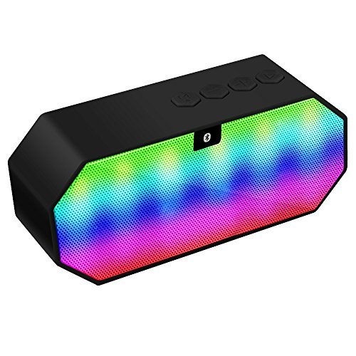 loud bluetooth speakers. bluetooth speaker, dland portable color changing led light wireless hi--fi surround stereo sound speaker speakerphone for home and outdoor party loud speakers o