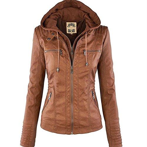 Minetom Mujer Invierno Cremallera Jackets Chaquetas Deportiva Cuero Moto Cazadoras Imitacion Piel Biker Abrigos Con Capucha Marrón ES 36