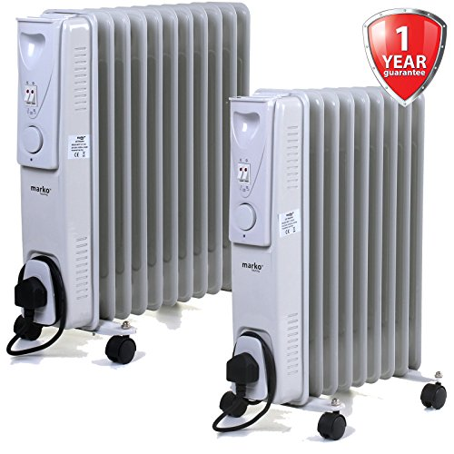 511SZ013csL. SS500  - Marko Heating Oil Filled Radiators White Portable Electric Heater Adjustable Thermostat Fire (9 Fin - 2000W)