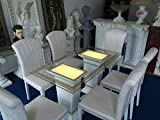 Glastisch Esstisch beleuchtet Medusa Barock Säulen Tisch mit Licht 69/27 130