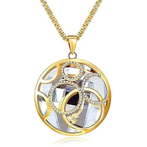 City Ouna® rétro Vintage alliage créatif pendentif collier avec autrichien Fashion cristal bijoux de cristal bijoux Long Pull Chain cercle et cercle pendentif pour femmes filles