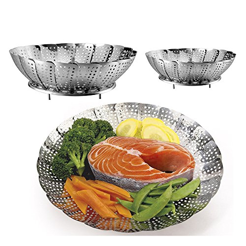Gemüse Dampfgarer Körbe Set 2 Größen (groß und Standard) – Edelstahl zusammenklappbar...