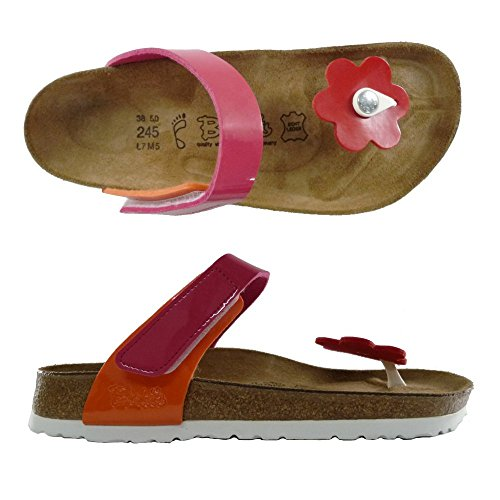 BIRKI'S BIRKENTSOCK ELEA FLOWER INFRADITO DONNA ciabatte sandali scarpe NORMAL (37, LACK RED/PINK/ORANGE)