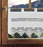 Scheibengardine Antoinette/Häkelgardine / Landhausgardine mit Häkelborte Leinenoptik 45x120cm (HxB)