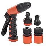 #9: HOKIPO® High Pressure Garden Hose Nozzle Water Spray Gun with Adapter Set