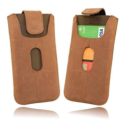 OrLine Handytaschee Ledertasche kompatibel mit BlackBerry Q10. Tasche Echtleder (Lasche mit Rückzugfunktion Ausziehhilfe mit Einer Kreditkartenfach) Gürteltasche Hülle Case