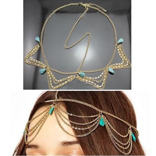 Fashion Gothic Women Ladies Crown Head Chain Headpiece Headdress Headwrap Hair Chain Jewelry
