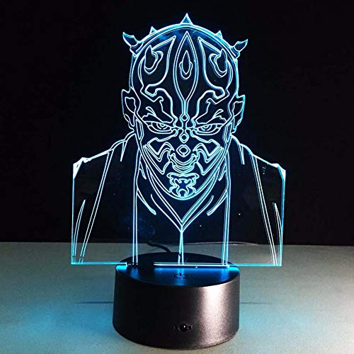 ZNNYE 3D Nachtlicht Kinder Star Wars Jedi Ritter 3D Visuelle Led Schlafen Nacht Lampe Touch Usb Tisch Lampara Illusion Stimmung Lampe Atmosphäre 7 Farben