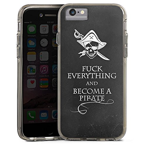 Apple iPhone 6s Plus Bumper Hülle Bumper Case Glitzer Hülle Sprüche Spruch Phrase Bumper Case transparent grau
