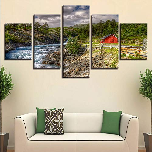 Fyyanm Leinwand Bilder Home Decor Hd Drucke Poster 5 Stücke Berg Bäume Stream Red Barn Landschaft Gemälde Wandkunst Modulare-40X60Cmx2 40X80Cmx2 40X100Cm