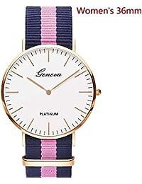 Women's Watch Geneva Style Watch Three-Colour Nylon Strap Classic Simple Unisex Wrist Watch Customization Watch Logo