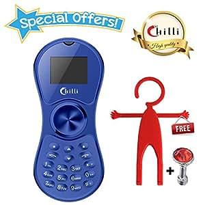 Chilli Spinner Phone World's Slimmest Mobile Phone Cum Spinner Credit Card Sized - Blue