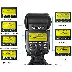 Kaavie -SL-582C Grand 2,2'' LCD écran E-TTL Autofocus Maître Speedlite pour Canon DSLR appareil photo numérique - GN58 @ ISO100, 105mm, support TTL, M, mode Multi, Fast recyle Max 1s environ de vitesse, CF m: définir la fonction personnalisée, port PC 2.5mm, contrôler les flashs avec une caméra photo menu Hot Metal chaussure Port etc - Top gun entièrement comparé à Canon 580EX II