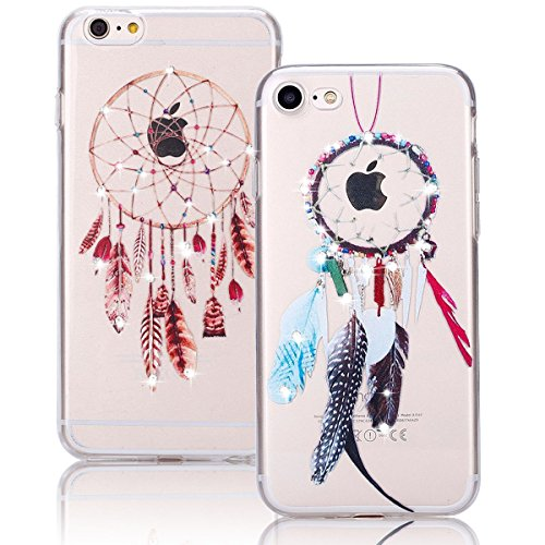 Cover iPhone 6S,iPhone 6 Custodia, Bonice 2pcs Caso Divertente Colorato Cristallo Bling Strass Fiore Trasparente Ultra Sottile Morbido TPU Gel Case Cover per iPhone 6 6S (4.7 Inch), mandala model 02